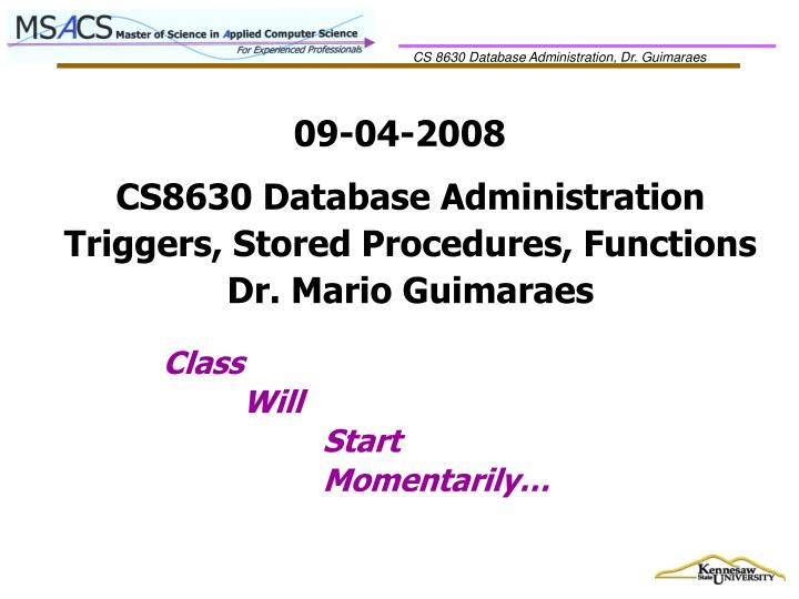 CS8630 Database Administration