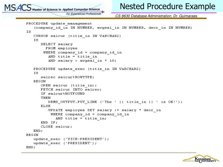 Nested Procedure Example