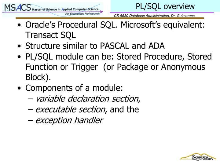 PL/SQL overview