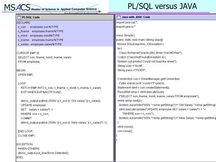 PL/SQL versus JAVA