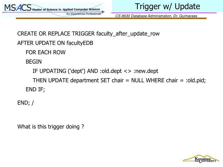 Trigger w/ Update