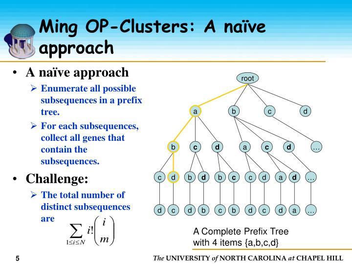 Ming OP-Clusters: A naïve approach