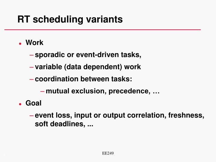RT scheduling variants