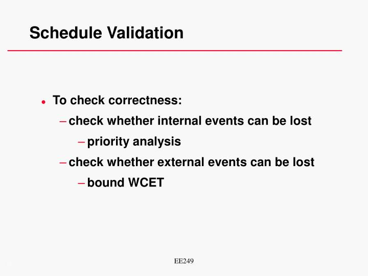 Schedule Validation