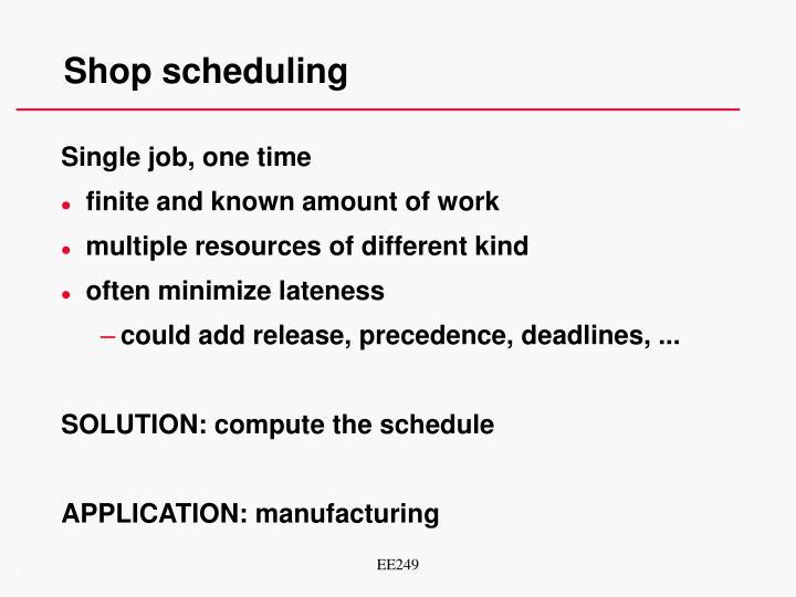Shop scheduling