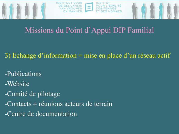 Missions du Point d'Appui DIP Familial