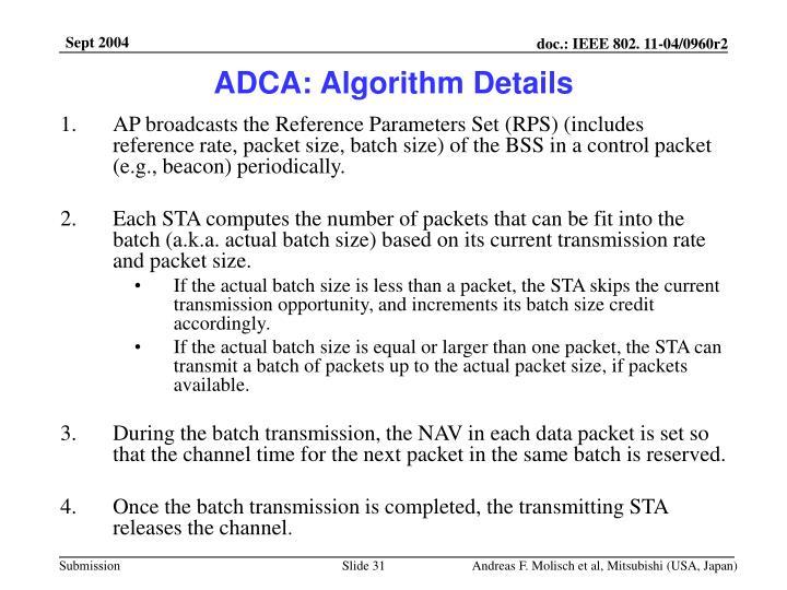 ADCA: Algorithm Details