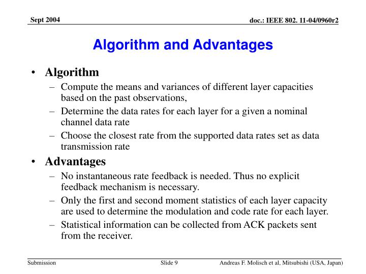 Algorithm and Advantages