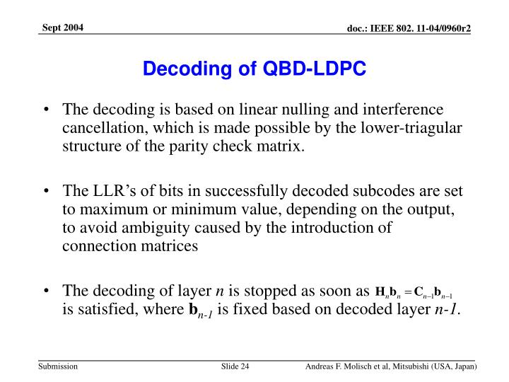 Decoding of QBD-LDPC