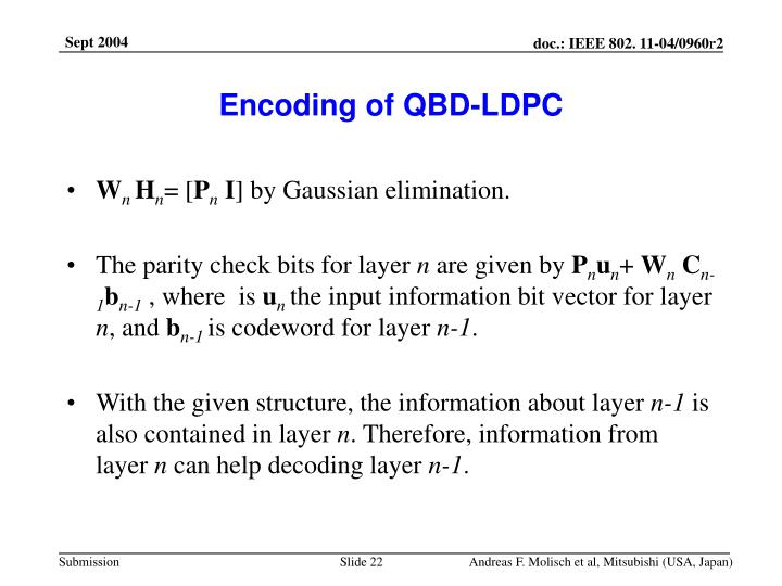Encoding of QBD-LDPC