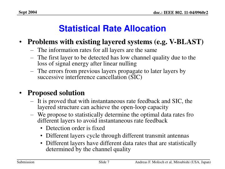 Statistical Rate Allocation
