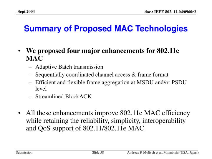 Summary of Proposed MAC Technologies