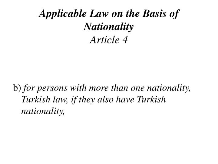Applicable Law on the Basis of Nationality