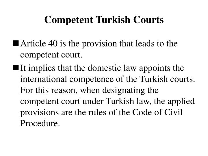 Competent Turkish Courts