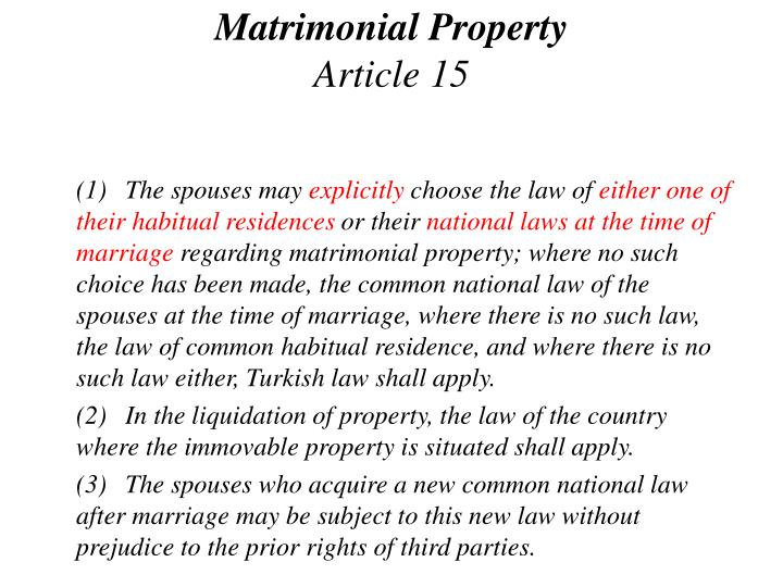 Matrimonial Property