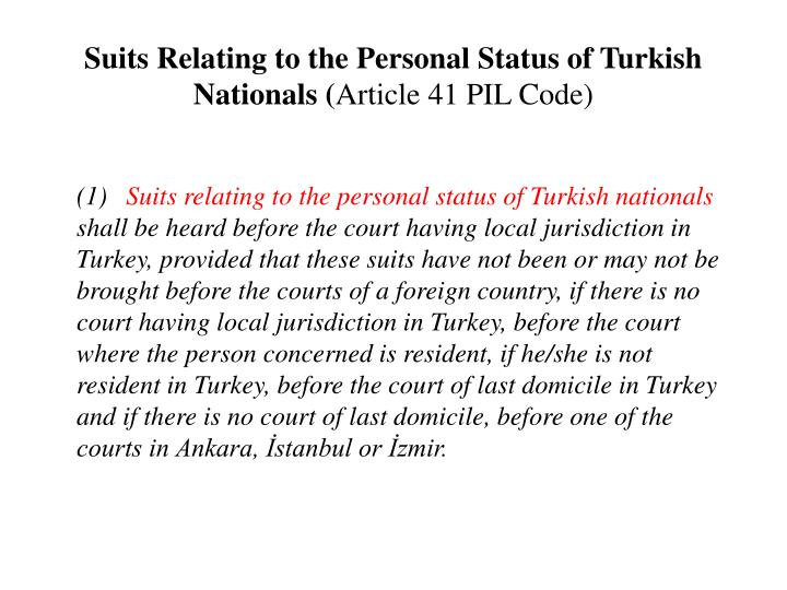 Suits Relating to the Personal Status of Turkish Nationals