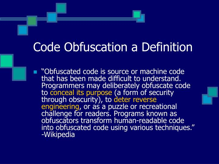 Code obfuscation a definition