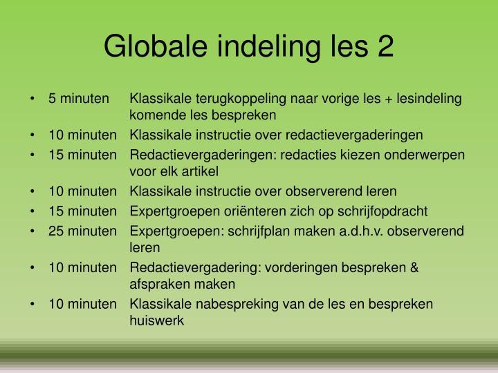 Globale indeling les 2