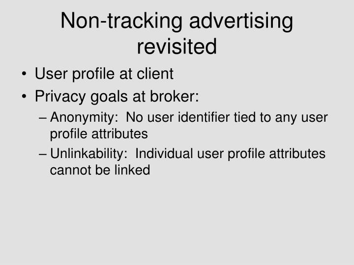 Non-tracking advertising revisited