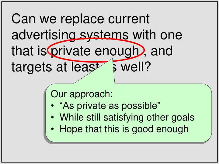 Can we replace current advertising systems with one that is private enough , and targets at least as well?