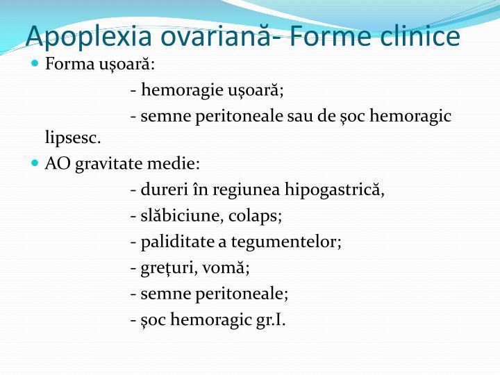 Apoplexia ovariană- Forme clinice