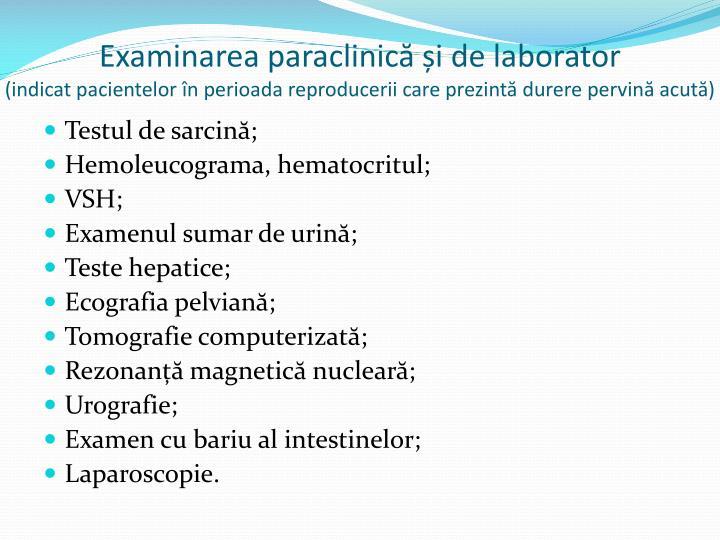 Examinarea paraclinică și de laborator
