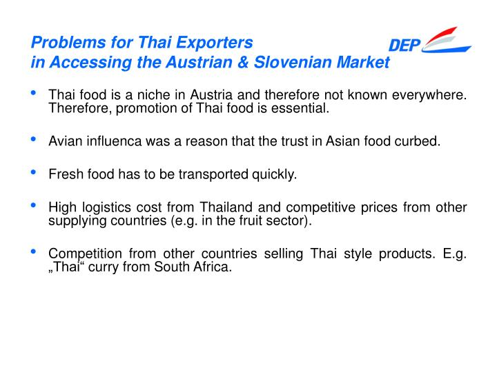 Problems for Thai Exporters