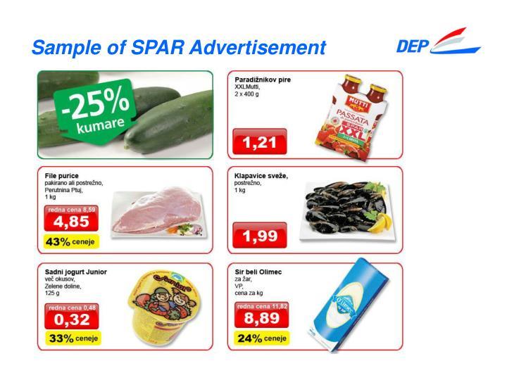 Sample of SPAR Advertisement