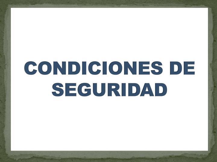 CONDICIONES DE SEGURIDAD