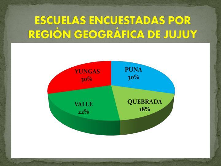 ESCUELAS ENCUESTADAS POR REGIN GEOGRFICA DE JUJUY