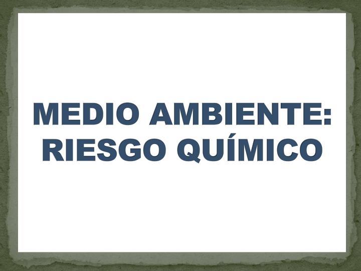 MEDIO AMBIENTE: RIESGO QUMICO