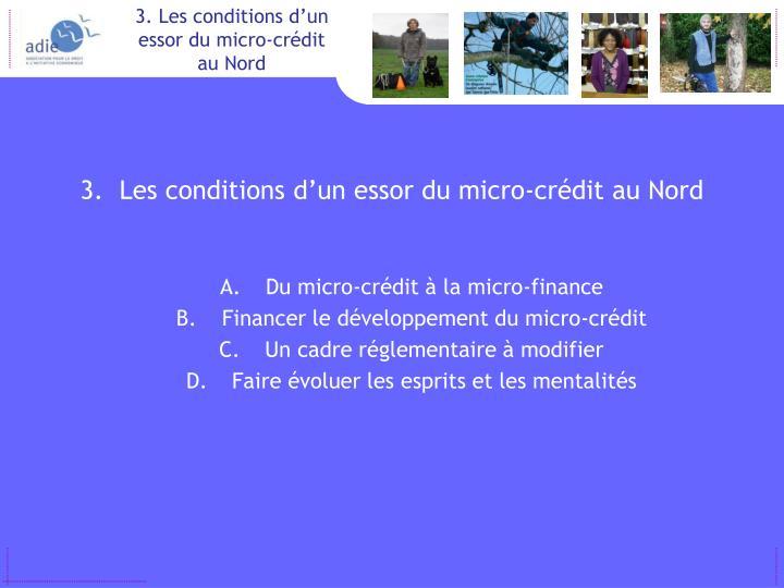 Les conditions d'un essor du micro-crédit au Nord