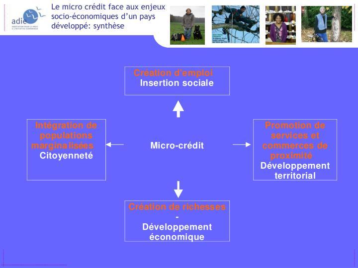 Le micro crédit face aux enjeux socio-économiques d'un pays développé: synthèse