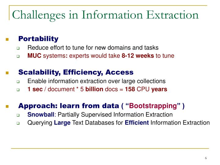 Challenges in Information Extraction