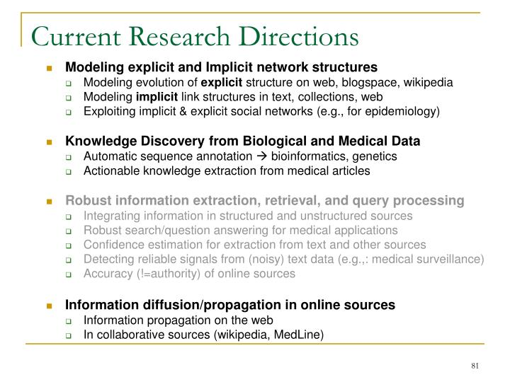 Current Research Directions