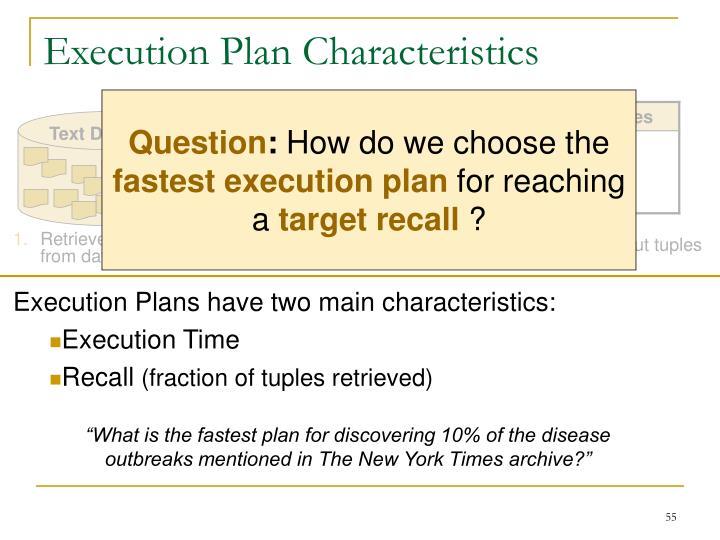 Execution Plan Characteristics