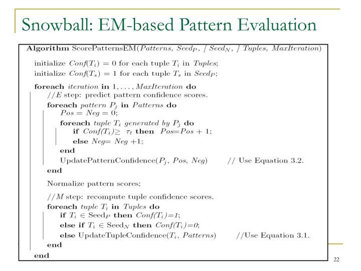 Snowball: EM-based Pattern Evaluation