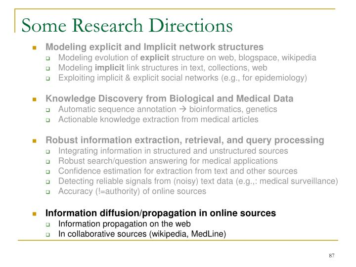 Some Research Directions