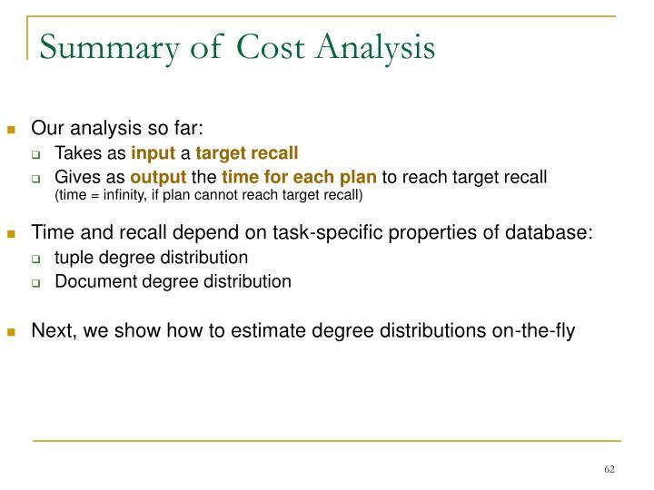 Summary of Cost Analysis