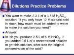 dilutions practice problems