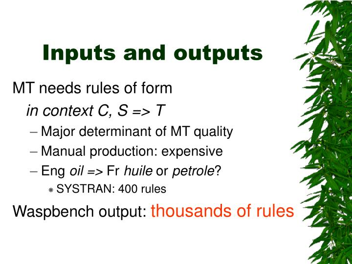 Inputs and outputs