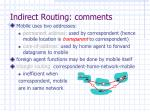 indirect routing comments