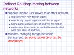 indirect routing moving between networks