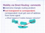 mobility via direct routing comments