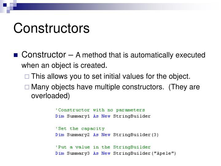 Constructors