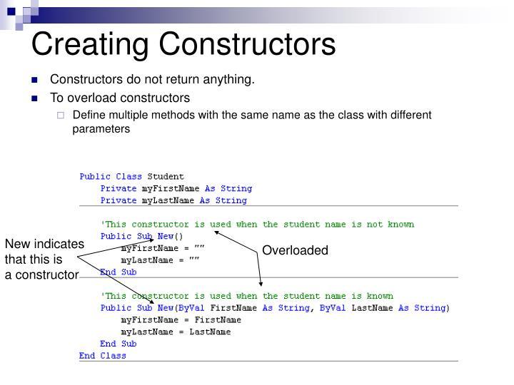 Creating Constructors
