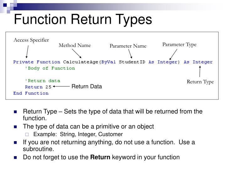 Function Return Types