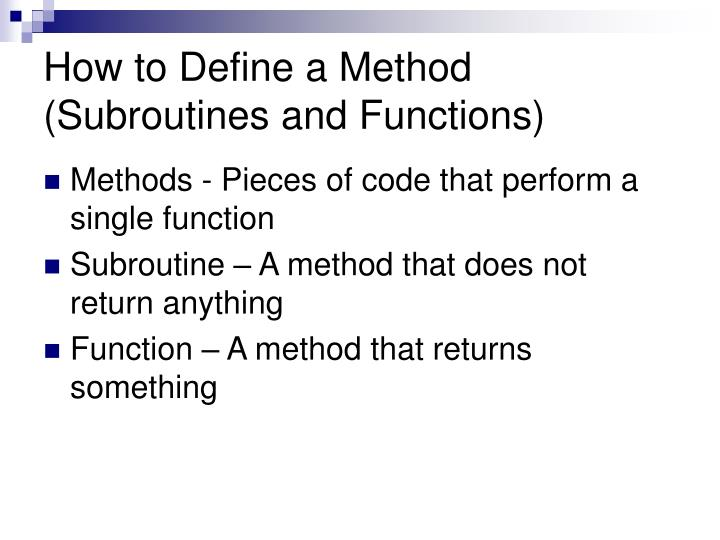 How to Define a Method