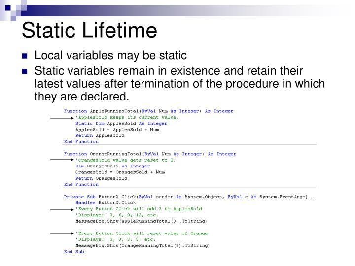 Static Lifetime