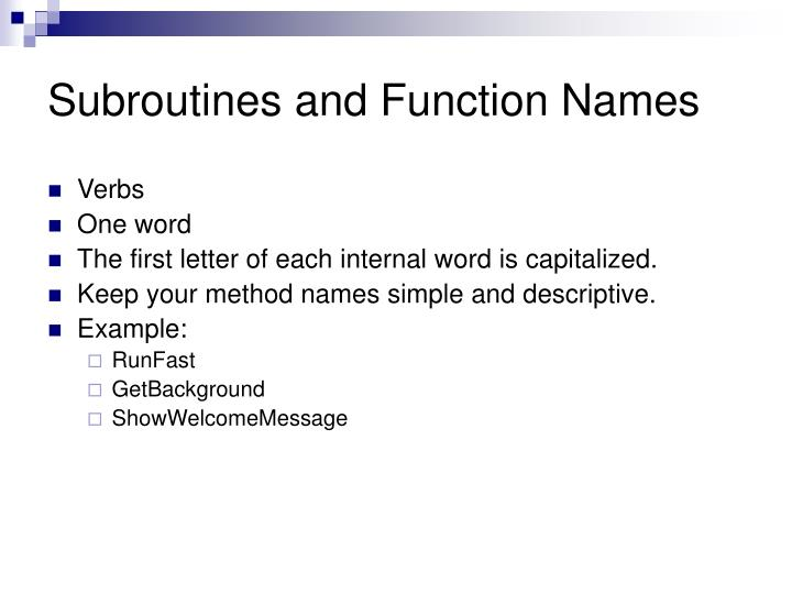 Subroutines and Function Names